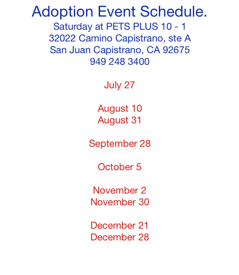 Adoption Event Upcoming Dates