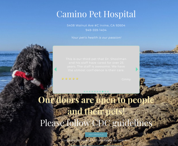 Camino Pet Hospital – 5408 Walnut Avenue #C Irvine, CA  92604 – 949-559-1404